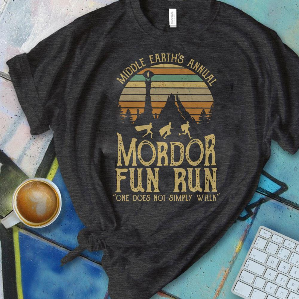 e83ece334 Nice Sunset middle earth's annual mordor fun run one does not simply walk  shirt