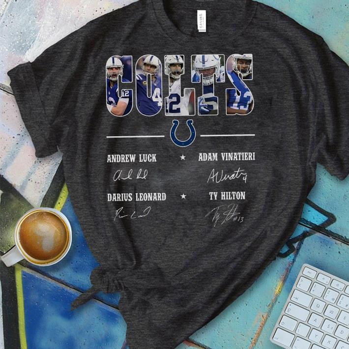 54095387 The best Andrew Luck Adam Vinatieri Darius Leonard Ty Hilton signature  Indianapolis Colts shirt