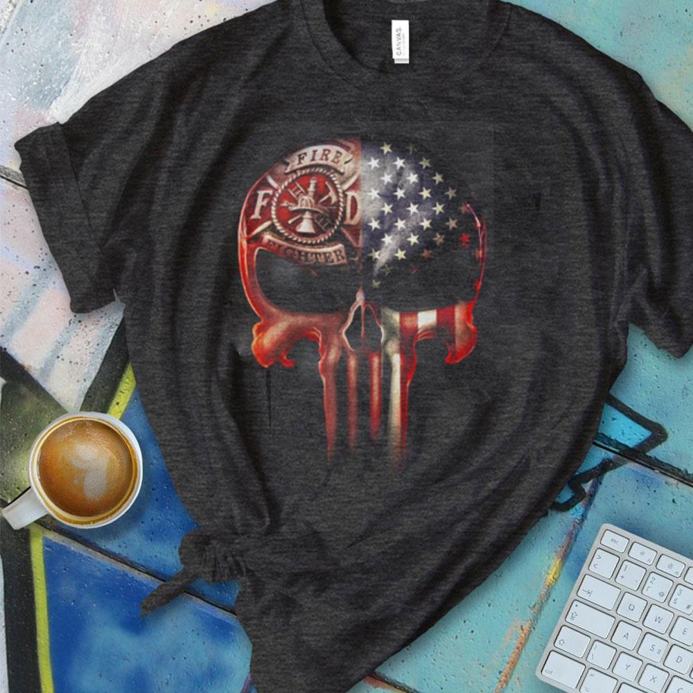 Official Skull America flag Firefighter shirt