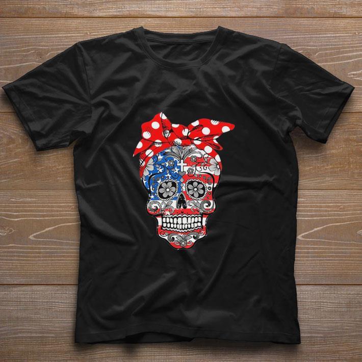 Funny Lady Christian sugar skulls America flag shirt
