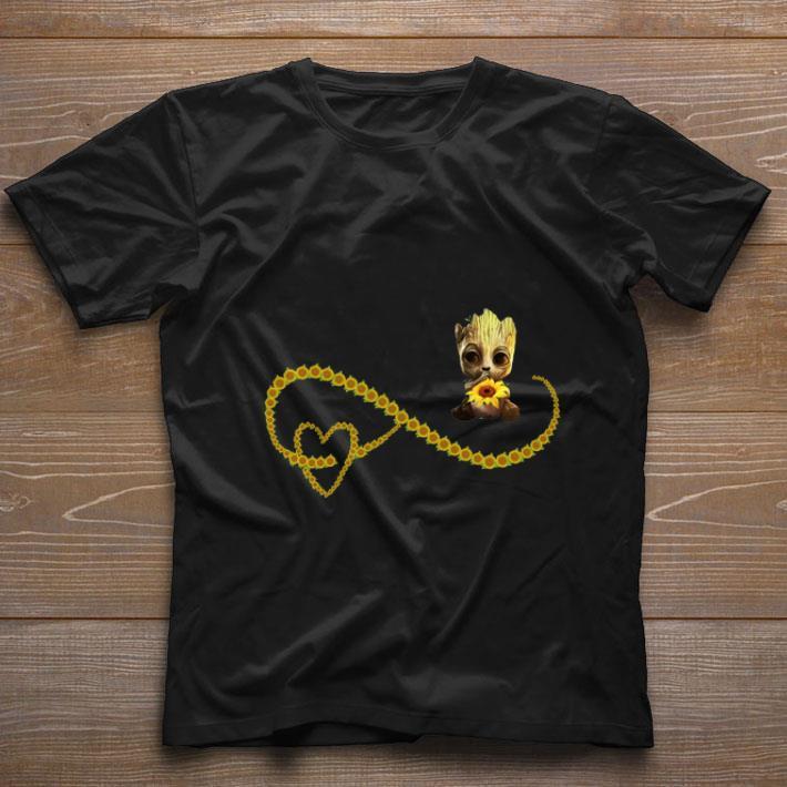 Hot Sunflowers Heart and Baby Groot shirt