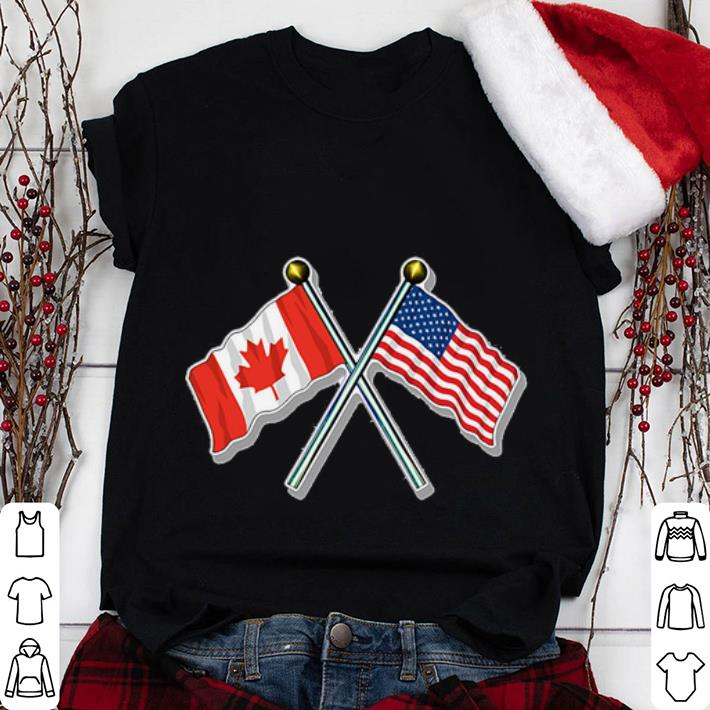 Official Crossed Poles USA and Canada Waving Flags shirt