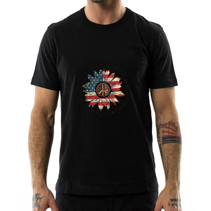 Original Flower peace sign she's a good girl loves her mama loves Jesus and America flag shirt