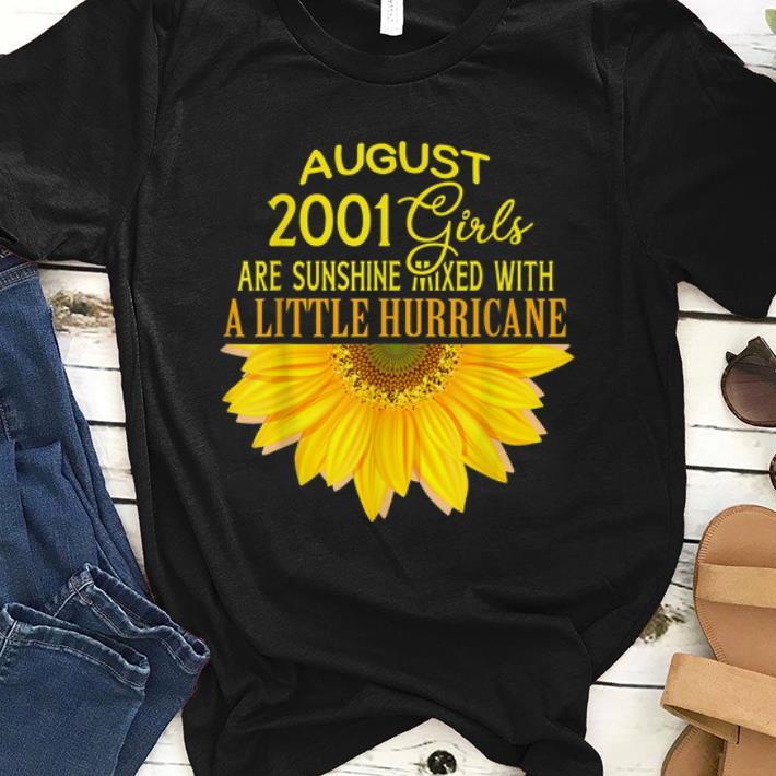 Awesome August Girls 18th Birthday Sunshine And Hurricane Sunflower shirt