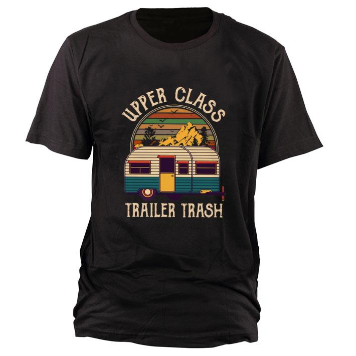 Funny Camping Upper class trailer trash vintage sunset shirt