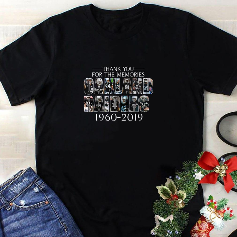 Funny Thank you for the memories Oakland Raiders 1960-2019 shirt