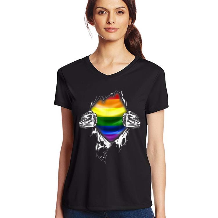 Premium Superhero Ripping LGBT Gay Pride Awareness Wolrd Pride shirt