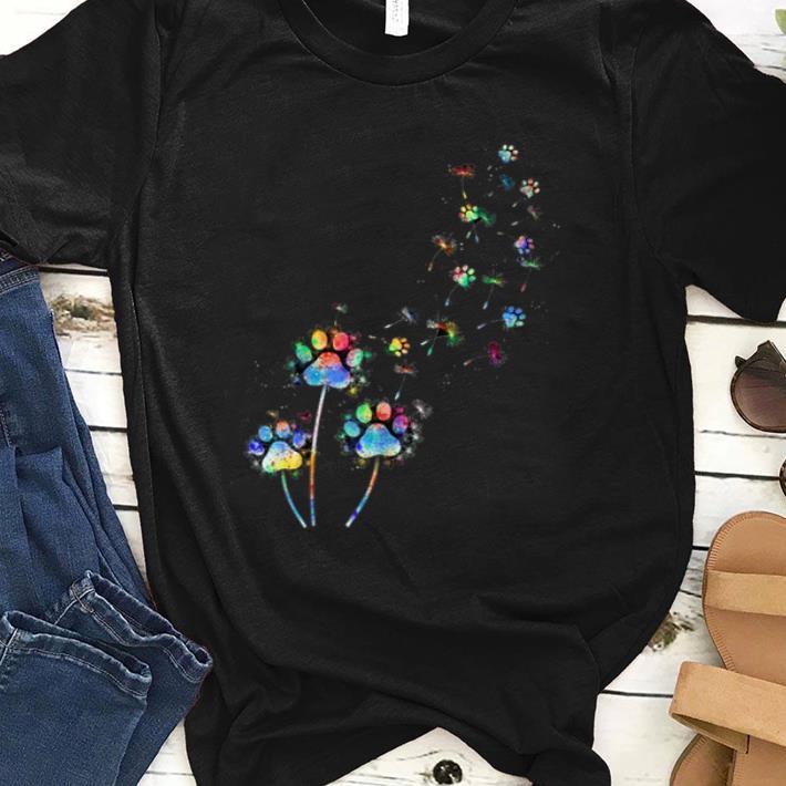 Pretty Dog Flower Colourful Dandelion Paw Dog Lover shirt