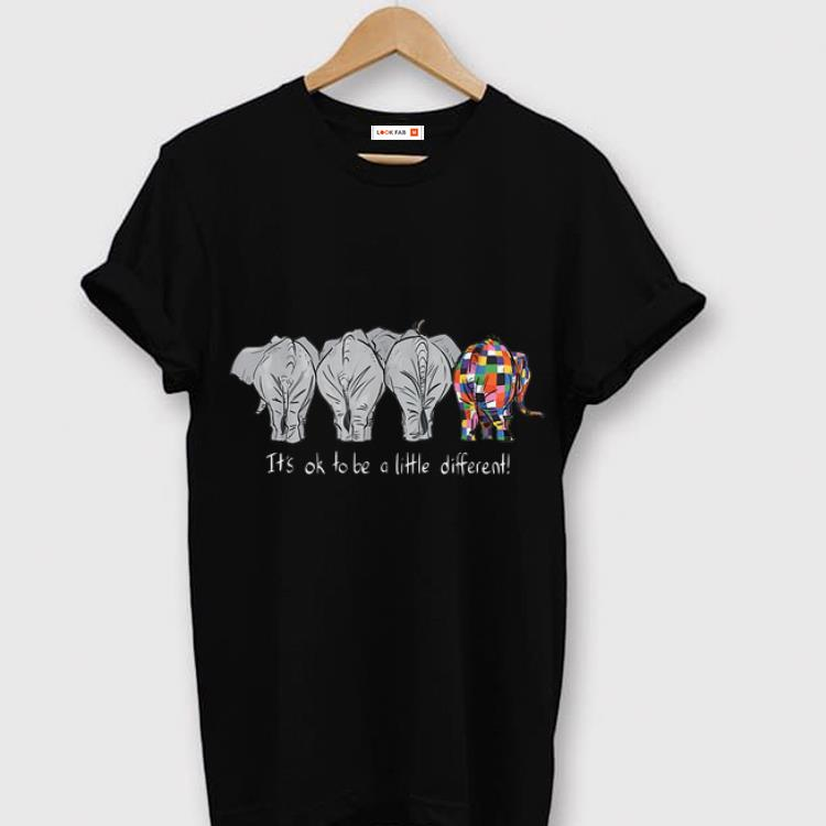 Top Elephant Autism It's Ok To Be A Little Different LGBT Pride shirt