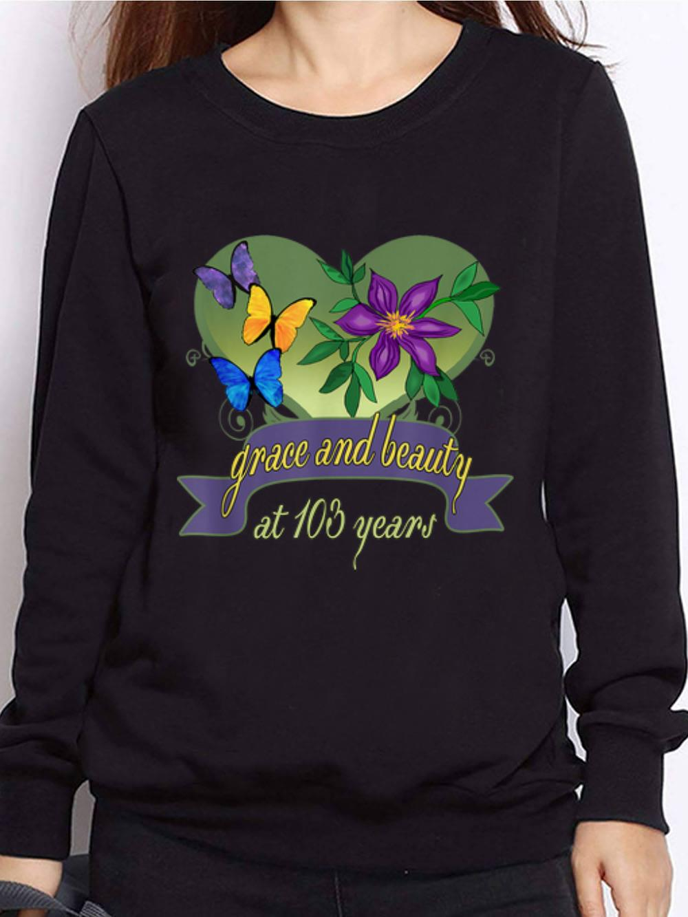 Awesome Grace And Beauty At 103 Years Flower Hoodie 1 1.jpg