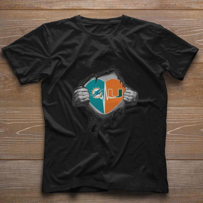 Official Miami Dolphins Miami Hurricanes inside my heart shirt