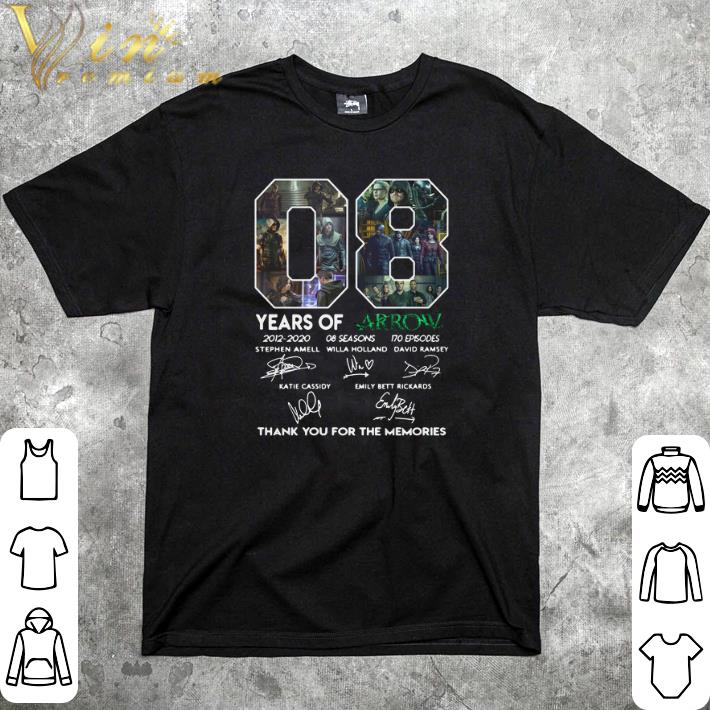 Top 08 years of Arrow signatures thank you for the memories shirt