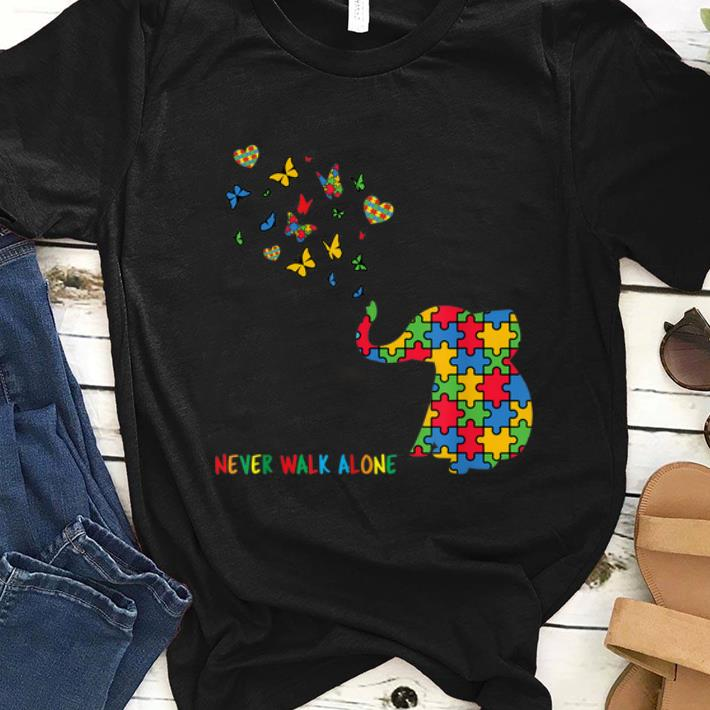 Top Autism Awareness Elephant Never Walk Alone shirt
