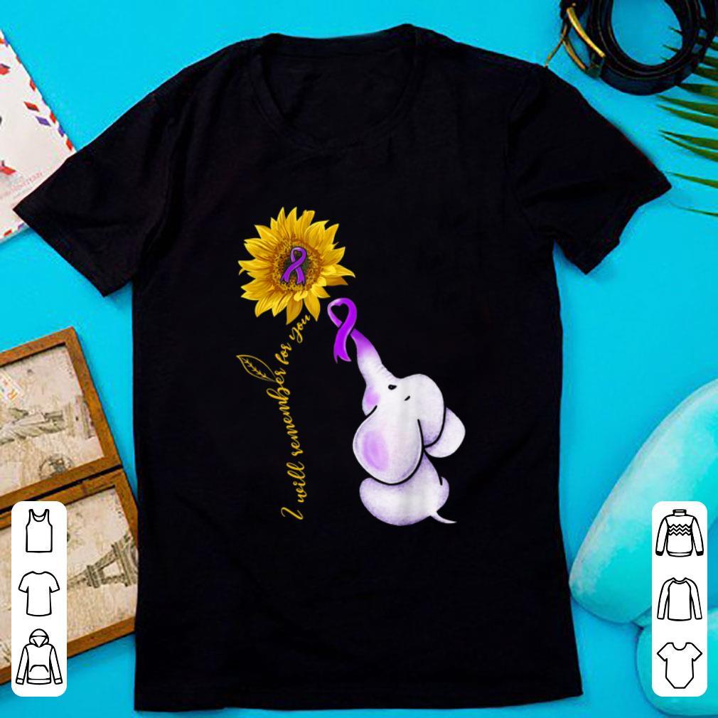 Hot Elephant I Will Remember For You Sunflower Alzheimer's Awareness shirt