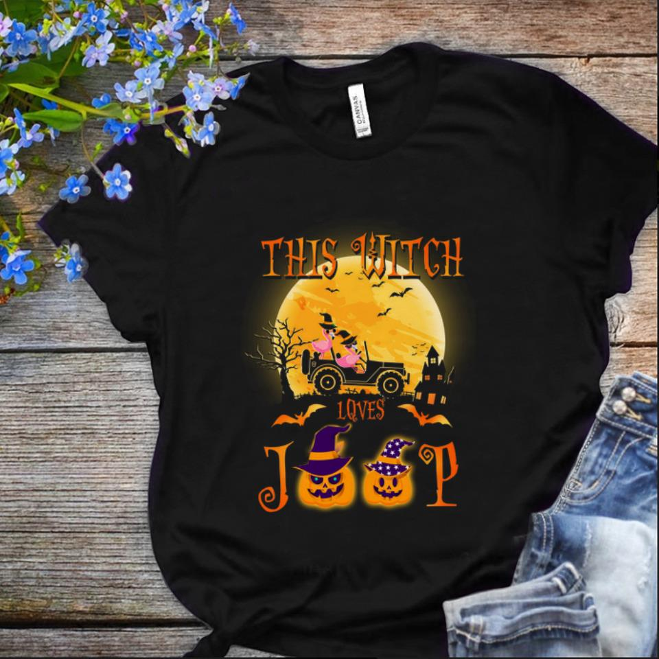 Nice Flamingos this witch loves Jeep Halloween shirt