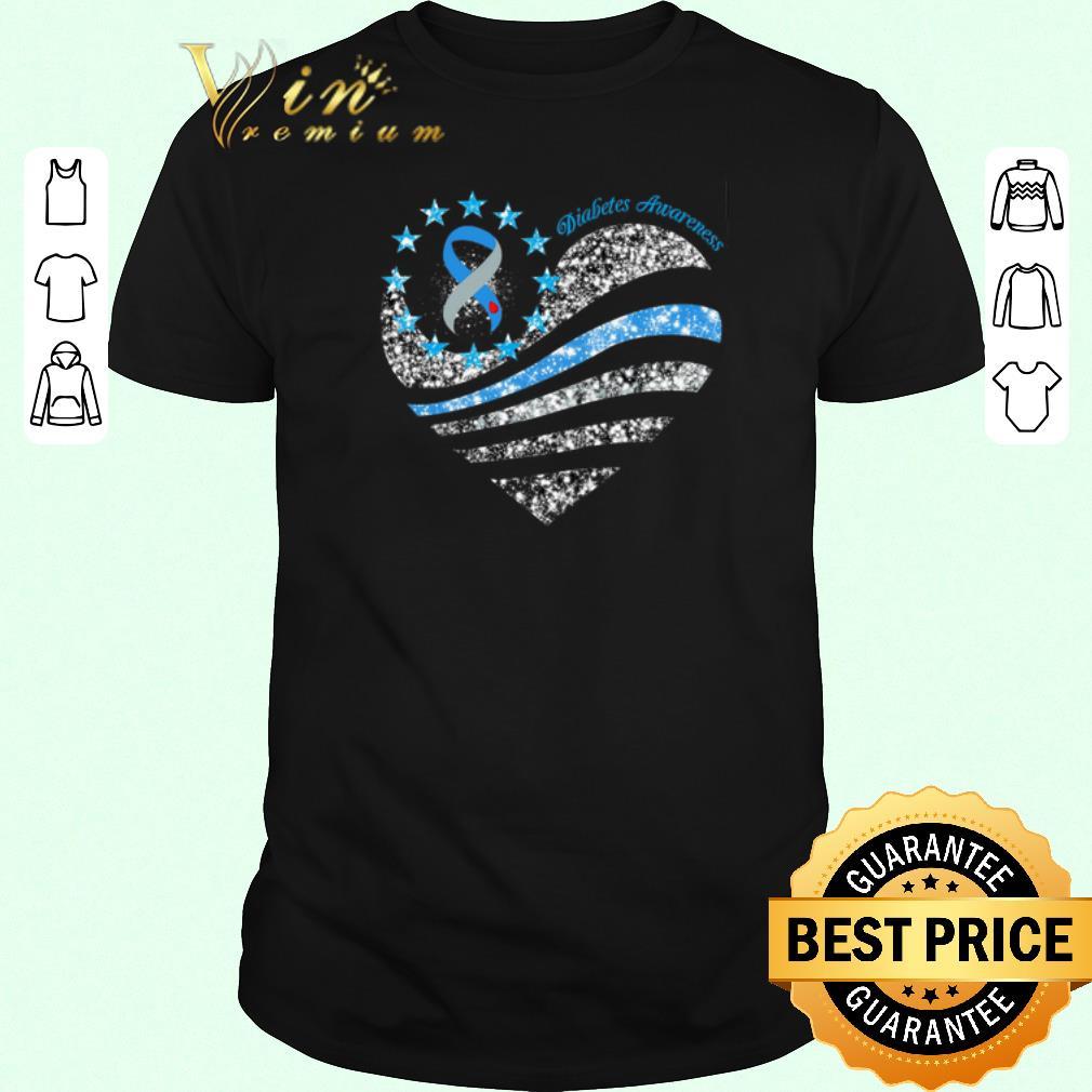 Nice Glitter Diabetes Awareness Betsy Ross heart shirt sweater