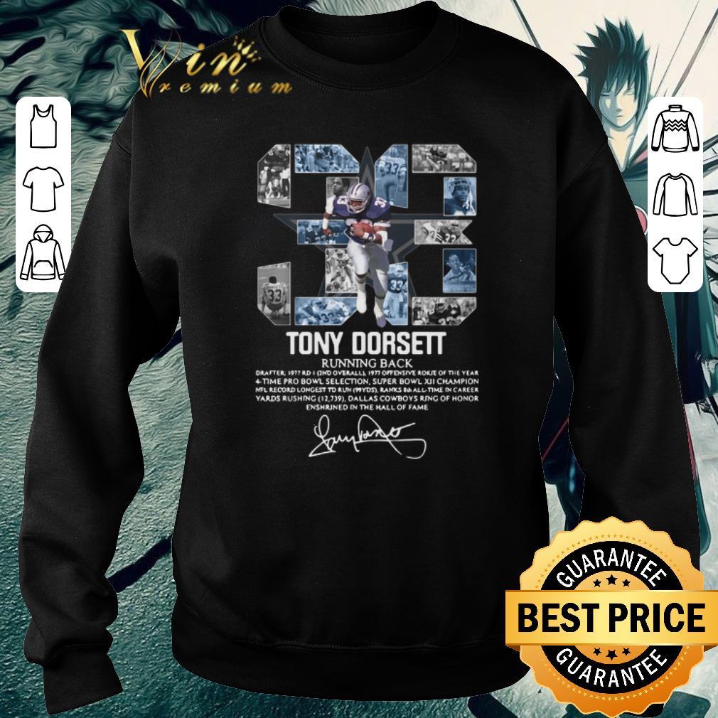 Premium 33 Tony Dorsett Running back signature shirt