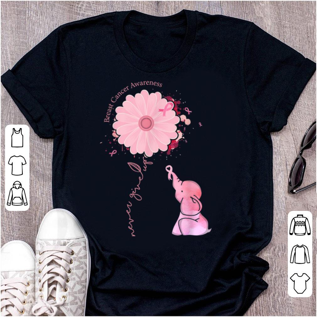 Top Cute Pink Elephant Pink Ribbon Breast Cancer Awareness shirt
