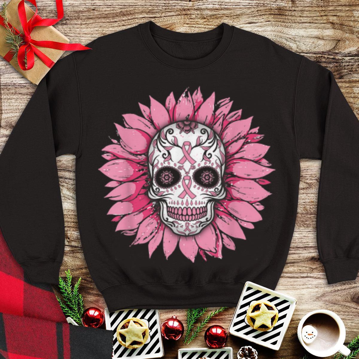 Awesome Sunflower Breast Cancer Awareness Sugar Skull Shirt 1 1.jpg