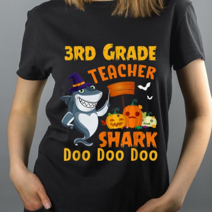 Official 3rd Grade Teacher Shark witch Halloween Costume shirt