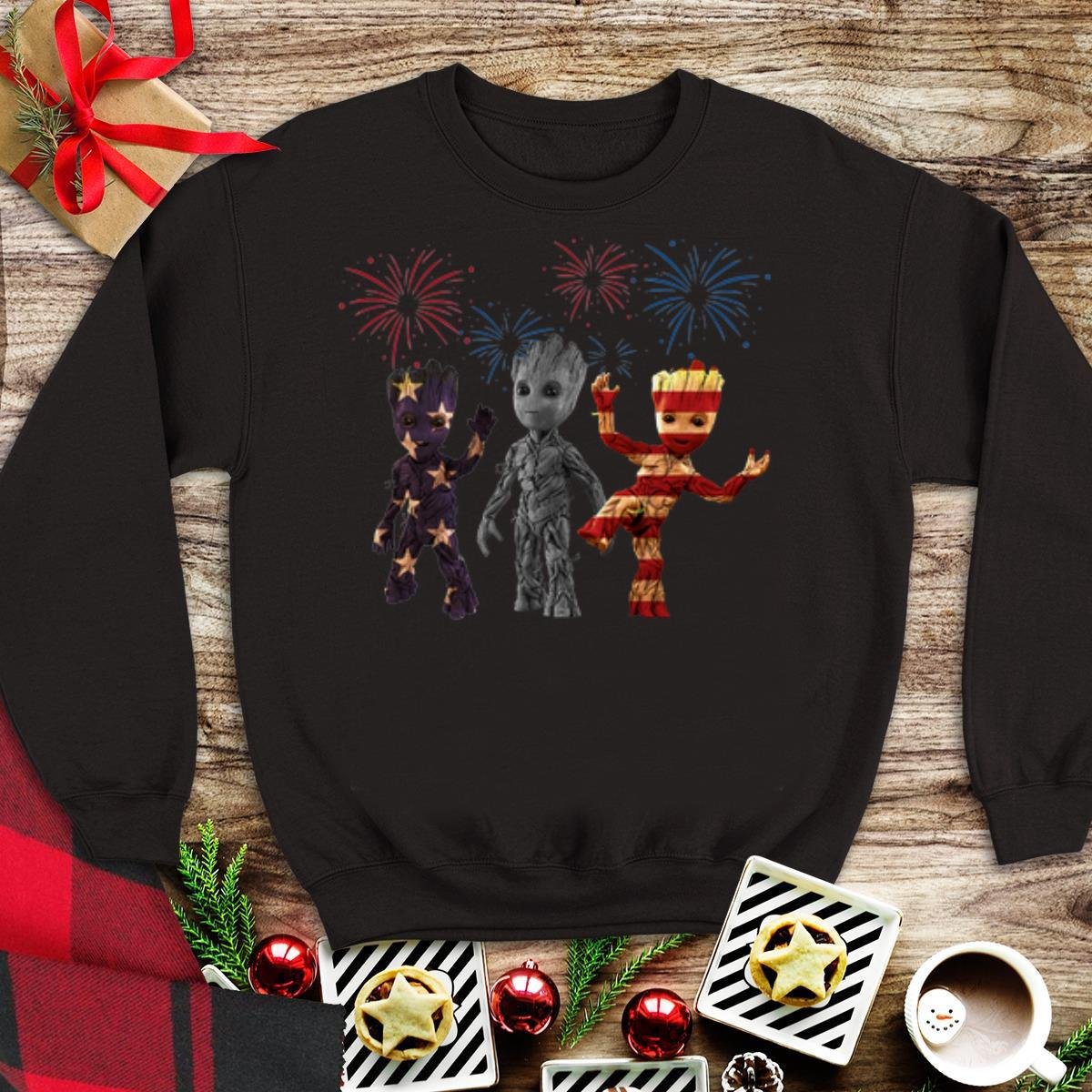 Awesome 3 Baby Groot American Flag Firework Shirt 1 1.jpg