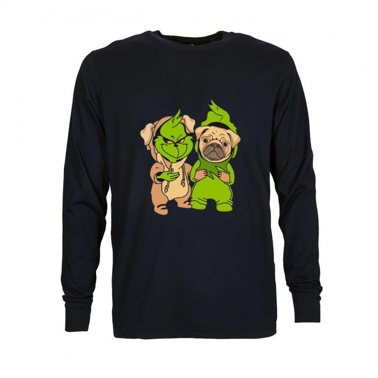 Awesome Baby Grinch and Pug dog shirt