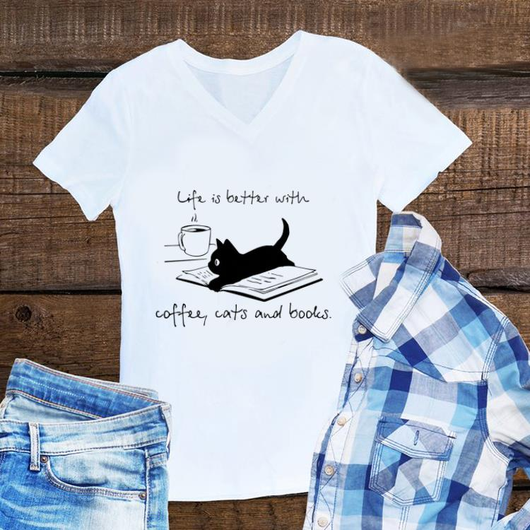 Awesome Black Cat life is better with coffee cats and books shirt