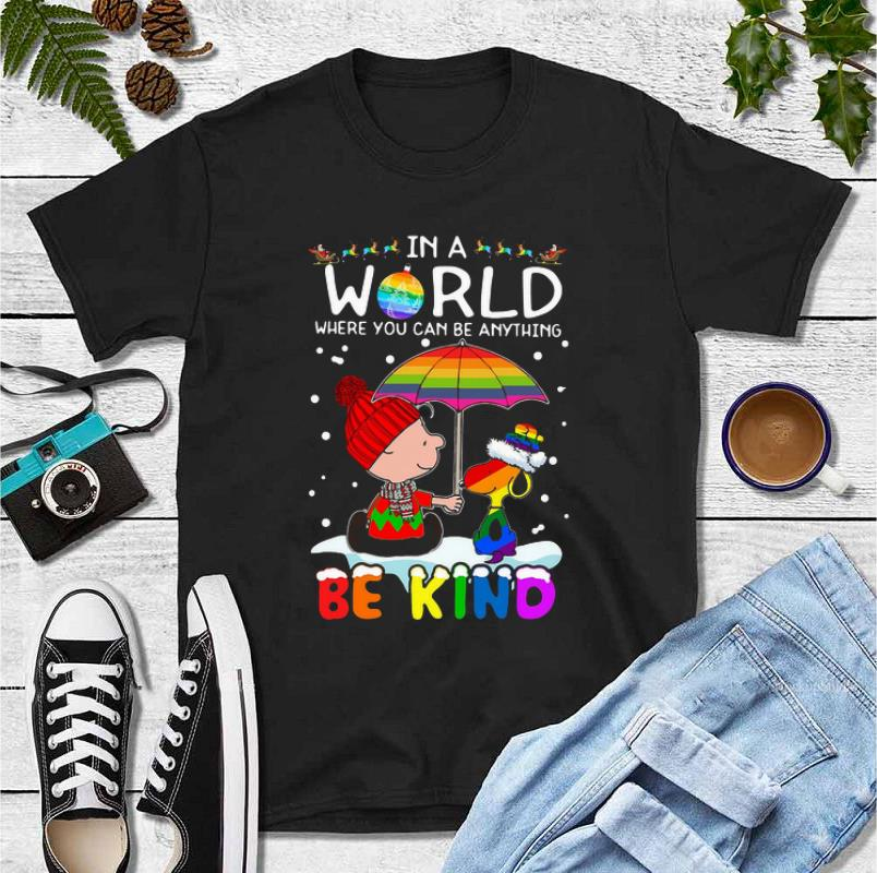 Nice LGBT Charlie Brown And Snoopy In A World Where You Can Be Anything Be Kind Christmas shirt