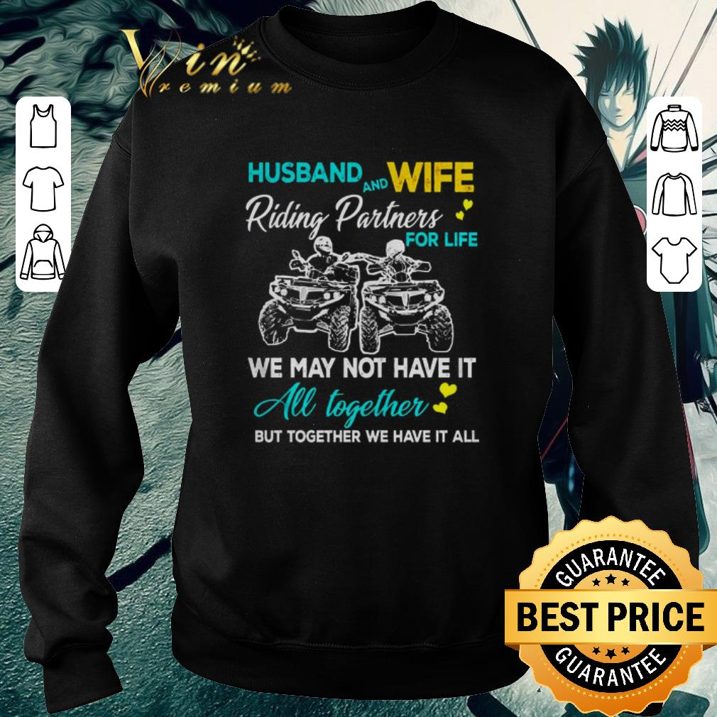 Nice Husband and wife riding ATVS partners for life together shirt