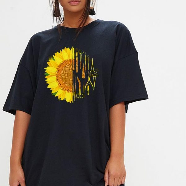 Surgeon surgical scrub tech sunflower shirt