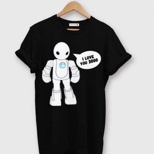 Kids Superhero Movie Quote I Love You 3000 Scifi Robot shirt