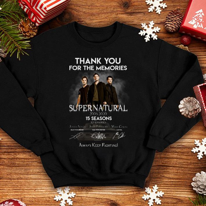 Thank you for the memories supernatural 15 seasons all signature shirt 4 - Thank you for the memories supernatural 15 seasons all signature shirt