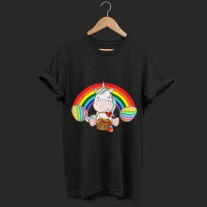 Unicorn easter rainbow and egg shirt