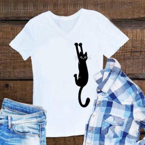 Black Cat Holding On shirt