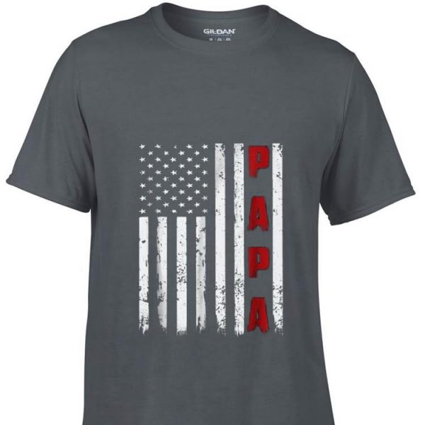 Proud Papa Fathers Day American Flag shirt