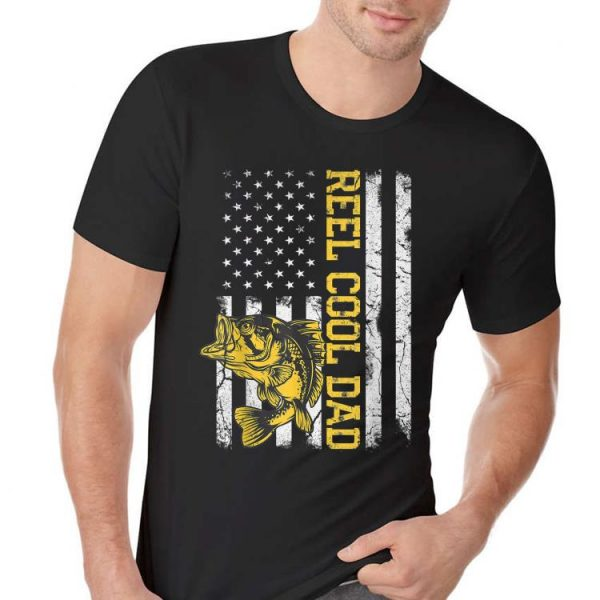 Reel Cool Dad Fishing Fathers Day American Flag shirt