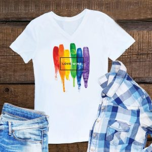Watercolor LGBT Love Wins Rainbow Paint shirt