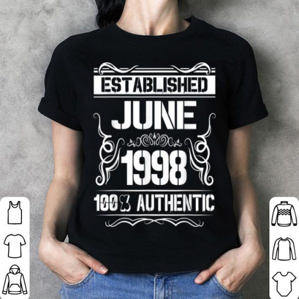 21st Birthday Established June 1998 shirt