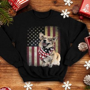 4th Of July Corgi America Distressed Flag Sunset shirt