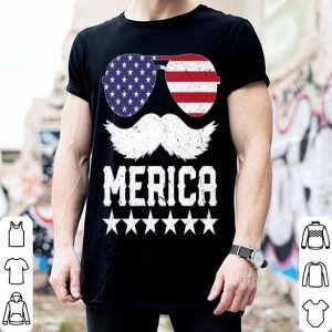 4th of July America Flag Mustache shirt
