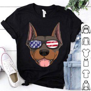 Doberman Pinscher Dog Patriotic USA 4th of July shirt