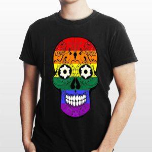 Lesbian Gay Pride LGBT Sugar Skull Rainbow shirt