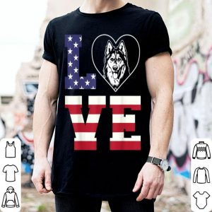 Love Naughty Husky American Flag shirt
