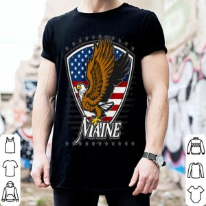 Maine Bald Eagle On American Flag shirt