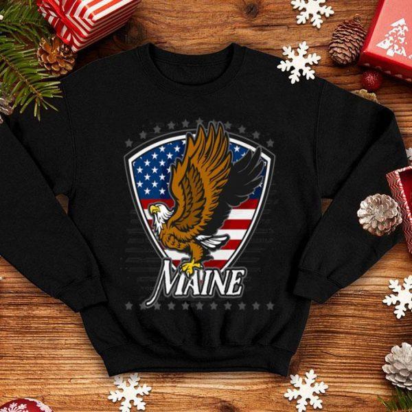 Maine Bald Eagle On American Flag shirt