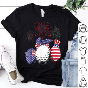 Red White Blue Golf USA Flag Firework 4th Of July shirt