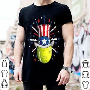 Tennis Ball American Flag Top Hat Patriotic July 4th Fan shirt