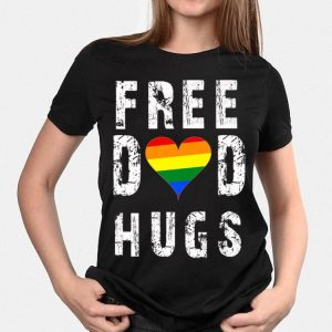 Vintage Free Dad Hugs LGBT Rainbow Heart Pride Father Day shirt