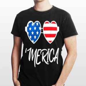 4Th Of July Merica Heart Sunglasses American Flag shirt