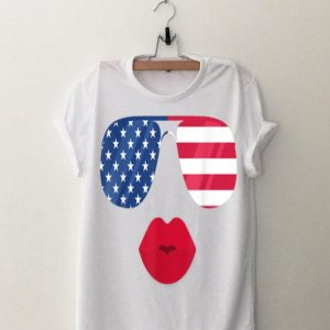 American Flag Sunglasses Lips Funny Patriotic Flags shirt